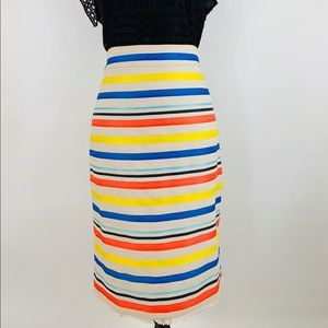 JCREW Colorful Jacquard Striped Pencil Skirt Lined